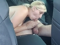 Blonde girl and blowjob in car