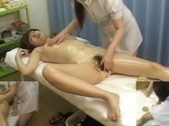 Japanese sex video with the masseuse jerking a rod