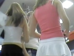 Super hot upskirts of two teens in exclusively short skirts