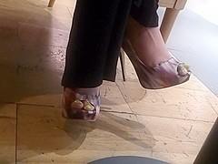 Feet at restaurant