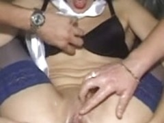 Slender doxy acquires soaked and fisted