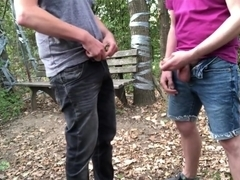 Outdoor Cumshot helping Hand