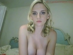Gorgeous blonde fondles big juggs on webcam