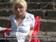 Amateur blonde Eurobabe Kitty Rich facialed for money