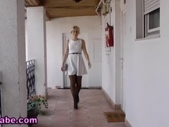 Blowing blonde euro teen