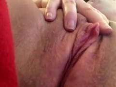 Big clit fingering orgasm - lots of pussy contractions!