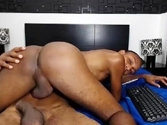 Seductive dude is masturbating in the apartment and shooting himself on webcam