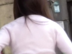 Teenage princess flashes her booty when someone pulls down her golden panties