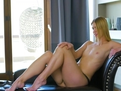 Busty beauty Violette Day loves fingering her pussy solo