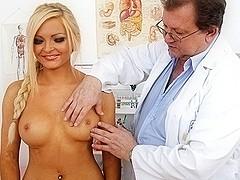 Gorgeous czech blonde Nicky Angel bizarre vagina exam