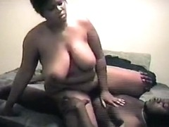 Chubby black angel almost breaks the couch