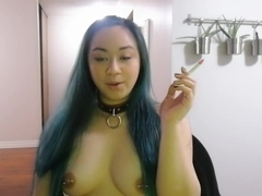 MissDeeNicotine Smoking Topless for Valentine's Day