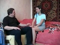 Obese Mate copulates a tenny russian gal