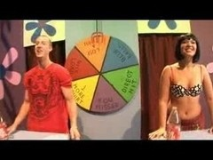 Sex game show ends with interracial hot sex