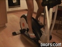 Blonde Mom Eddie works out in the nude