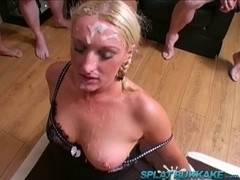 UK sweetheart Simone debut group-sex and bukkake