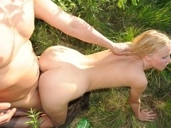 Nasty blonde sucks cock and fucks in the outdoors