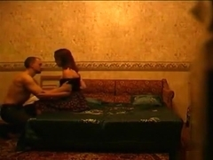 Russian couple oral, doggystyle, missionary and cowgirl action in the bedroom.