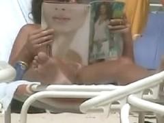 Nude beach naked brunette women voyeur video extravaganza