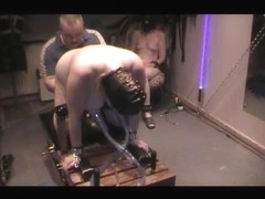 Sexy submissive mature babe milked by a machine