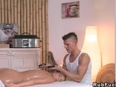 Brunette massages with stones european cumshot