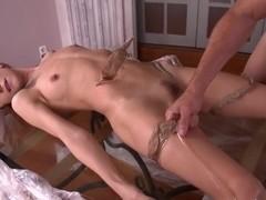 Redhead Leyla Black gets tight ass creampied