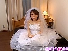 Morimoto Miku is undressed of bride outfit and fucked in holes