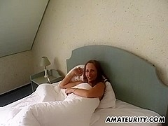 Hot amateur girlfriend with nice tits sucks dick with CIM