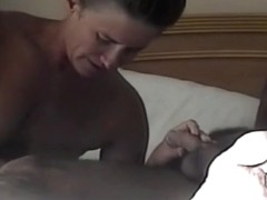 Nympho wife sucks shlong with some wine