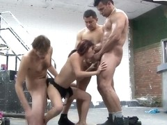 Teen gorgeous brunette babe fucks with three brutal guys