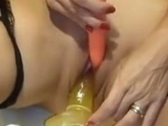woman receives super moist when this babe sticks in two dildos