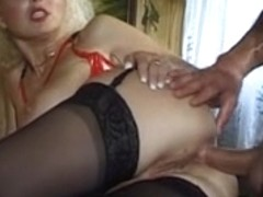 German Mother I'd Like To Fuck with big natural milk cans takes it hard in her booty
