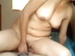 Asian wife with saggy boobs rides reverse cowgirl