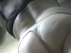 Spy camera with a good angle filming some nice hairy pussy