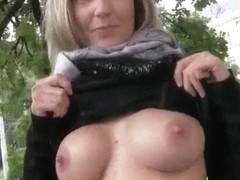 Eurobabe with big boobs public fucked for cash
