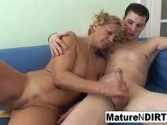 Blonde Mature Fucks Him Til He Cums On Her Tits - MatureNDirty