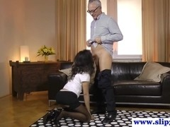 Euro classy babe teases old man then gets pounded