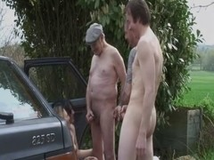 Group of old men fuck young brunette slut