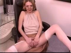 Aged leggy blond widens her glamorous twat at work