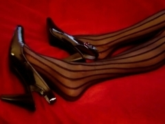 Nylon Legs Feet Shoeplay Massage
