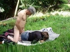 Older amateur couple gets dirty outdoors