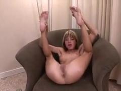 skinny girl plays with dildo