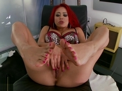 Phenomenal Mia Lelani strips down naked and plays with her gorgeous feet and sexy pussy