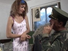 Gina X. 24 - Young Girl Taking Orders From An Old Sarge