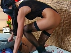 Gas mask maiden is licked by Johnny Sins