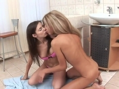 Monica B oiling and fingering hard her dear friend