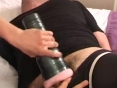 Sexy blonde girl shows her hot body and rides her dildo