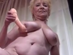 Granny in Nylons Disrobes and Widens