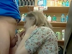 Cute hotty gives oral at warehouse