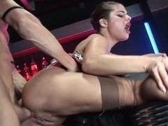 Brunette whore gets her ass pounded deep